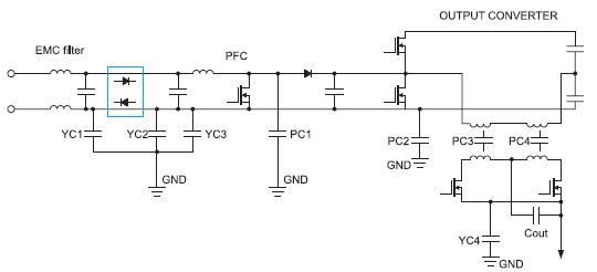 Упрощенная принципиальная схема источника питания AC/DC серии NV-Power
