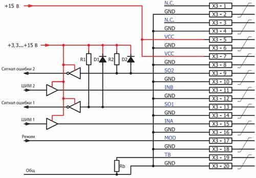 Рекомендуемая схема интерфейса пользователя (подключения к разъему Х3) базовой платы 2BB0108T
