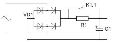 Структурная схема заряда с помощью зарядного резистора