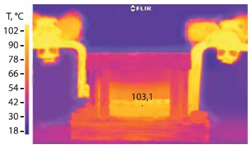 Тепловизионная картина биполярного модуля, находящегося под токовой нагрузкой