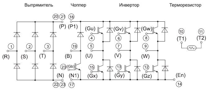 Структура и нумерация выводов модуля 7MBR25VM120-50