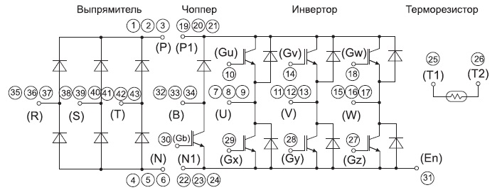 Структура и нумерация выводов модуля 7MBR150VR120-50