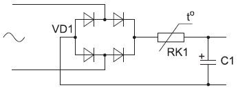 Структурная схема заряда с помощью термистора