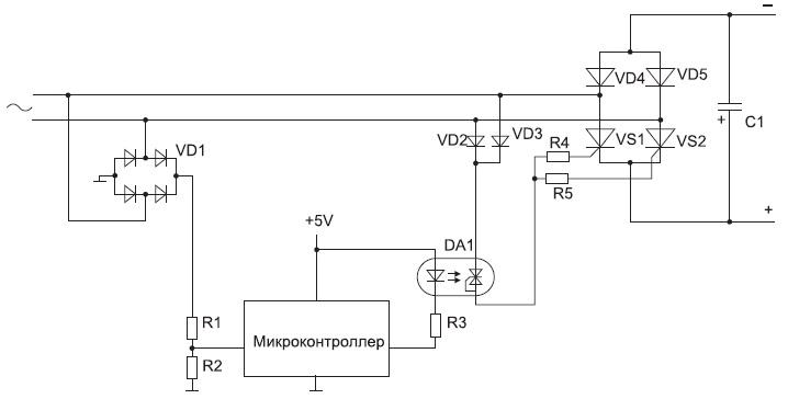Схема заряда емкости с помощью тиристоров
