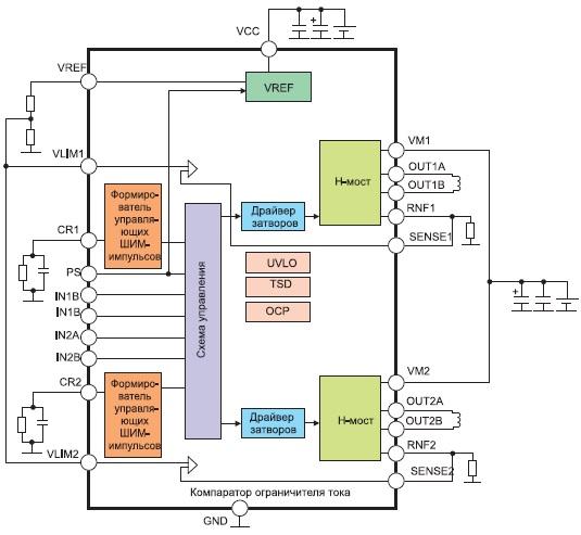 Структурная схема и типовое включение микросхем BD6380/6381/6382EFV