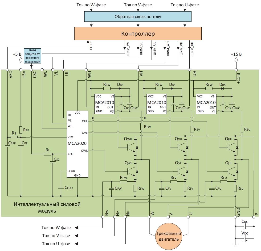 Структурная схема и схема подключения интеллектуального силового модуля