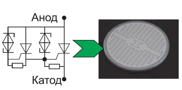 Внешний вид и эквивалентная схема полупроводникового элемента мощного высоковольтного динистора
