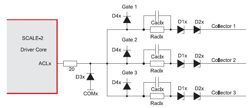 Схема использования активного ограничения при управлении тремя параллельными IGBT/MOSFET-транзисторами от одного драйверного ядра