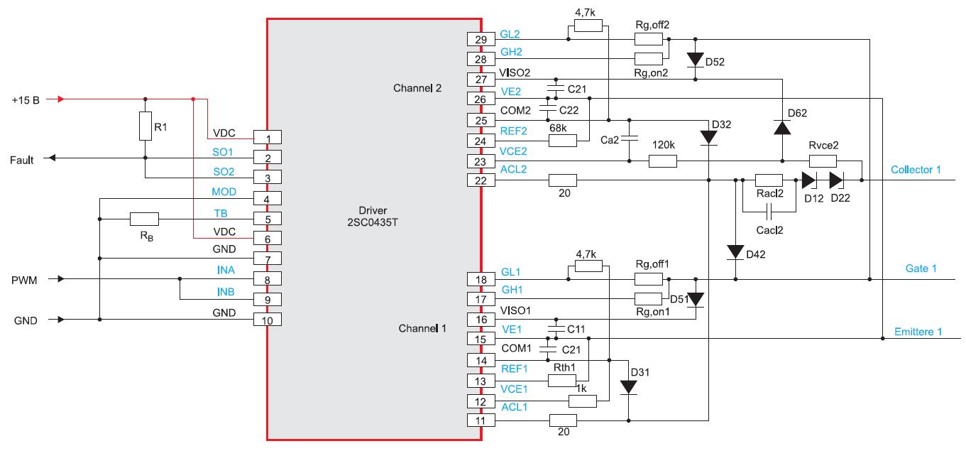 Параллельное включение каналов двухканального драйвера (на примере 2SC0435T)