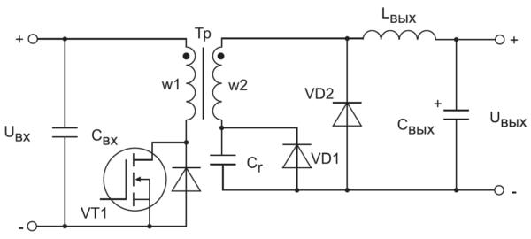 Структура однотактного прямоходового преобразователя с одним силовым ключом и резонансным размагничиванием с использованием резонансной цепи, состоящей из индуктивности намагничивания и емкости, образованной емкостями силового ключа, первичной обмотки и всеми емкостями на вторичной стороне, приведенными к первичной стороне, включая емкость выпрямительного диода