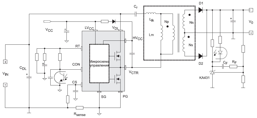 Типовая схема включения контроллера длярезонансных преобразователей FSFR2100