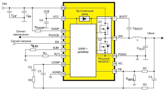 Типовая схема включения понижающего преобразователя FAN2106