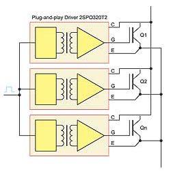 Принципиальная схема управления параллельным соединением силовых ключей индивидуальными драйверами
