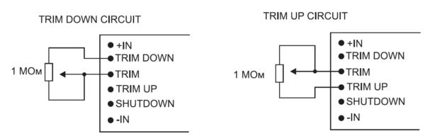 Подстройка значений выходного напряжения при помощи внешнего резистора