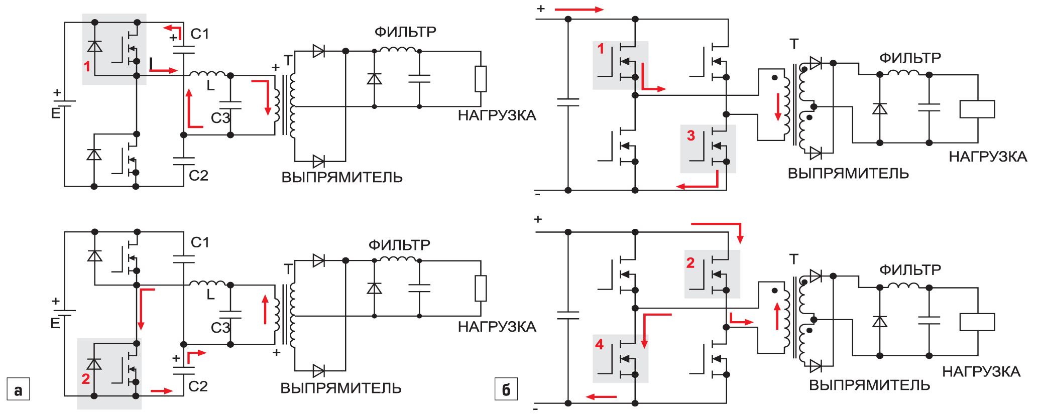 Пояснение принципа работы конвертера посхеме:полумоста; полного моста