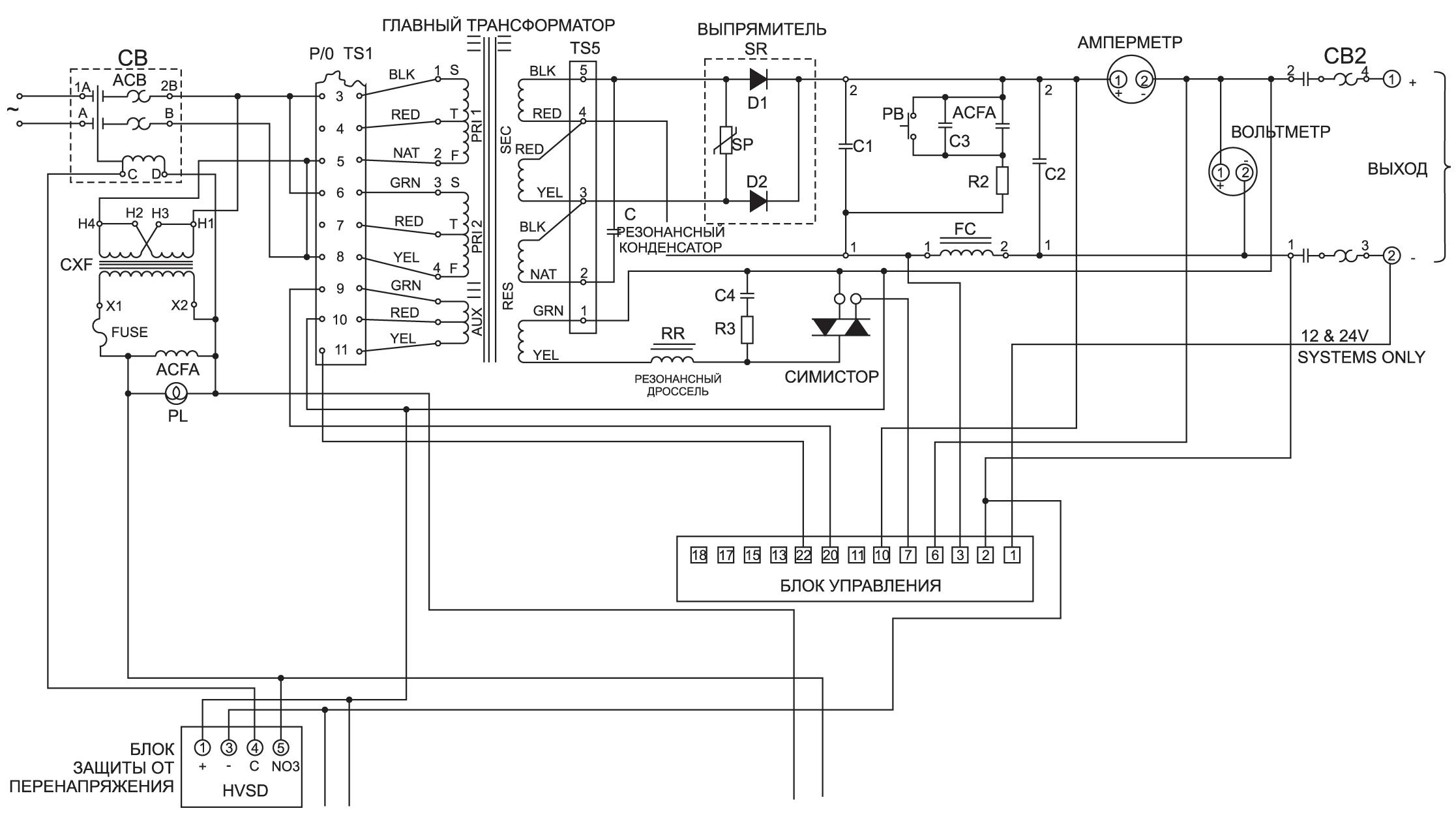 Принципиальная электрическая схема промышленного ЗПА феррорезонансного типа серииARE производства компании C&D