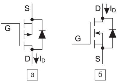 схема p-канального и n-канальный MOSFET