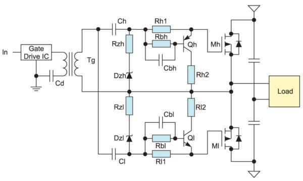 Управление n-канальным и p-канальным MOSFET с помощью одного импульсного трансформатора