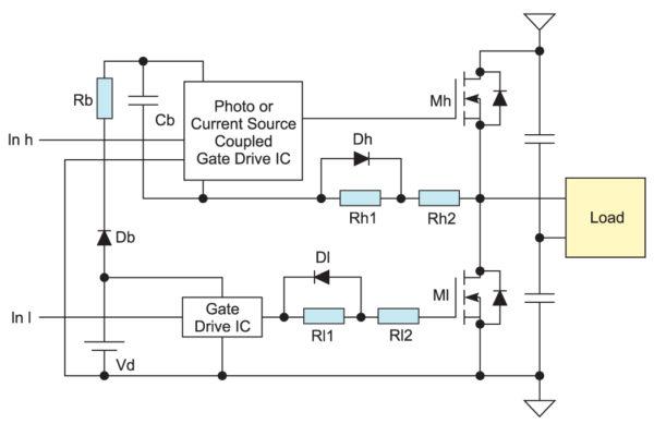 Управление схемой с n-канальными MOSFET с помощью специализированного драйвера
