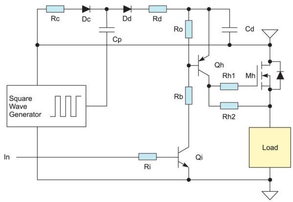 Низкочастотное управление n-канальным MOSFET с помощью «накачки» емкости
