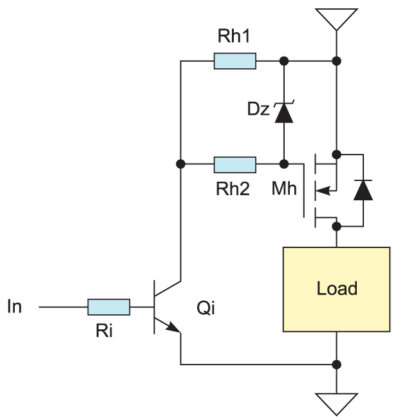 Низкочастотное управление p-канальным MOSFET-транзистором