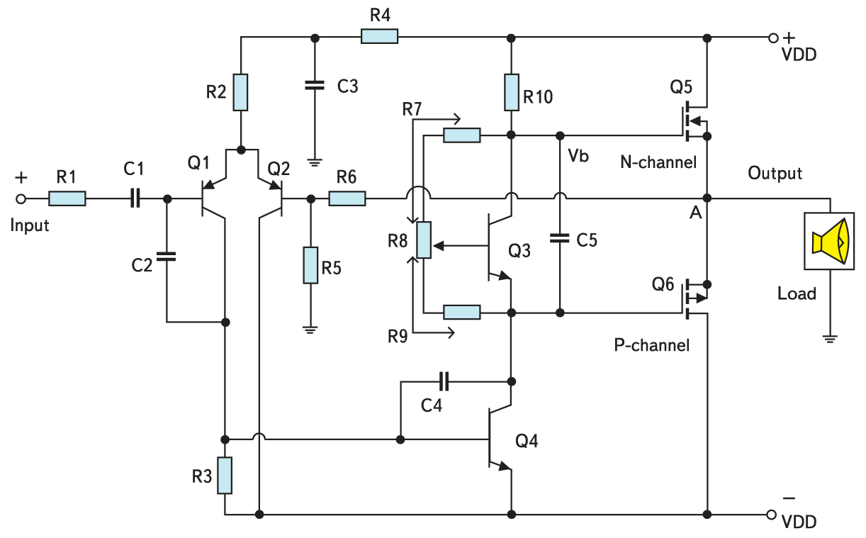 Схема аудиоусилителя класса AB