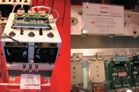 Модуль инвертора SEMIKUBE; фрагмент сверхплоского конвертора на модулях IGBT и выпрямителях SEMiX