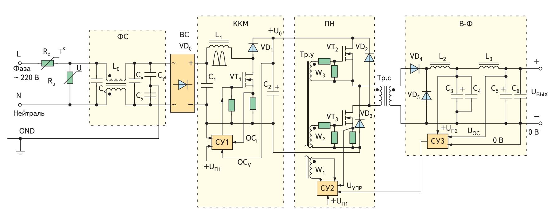 Упрощенная схема импульсного ИВЭ с корректором коэффициента мощности