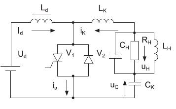 Принципиальная схема одноячейкового полирезонансного тиристорного инвертора