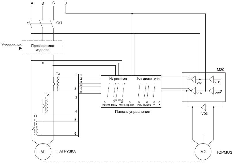 Схема функциональная стенда управляемой нагрузки для электропривода