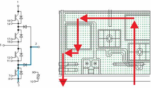 Структура модуля MLI: дизайн соединительных шин обеспечивает кратчайшие пути коммутации тока, минимальную распределенную индуктивность и симметричную работу IGBT