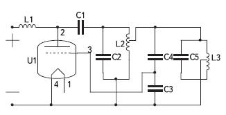 Схема лампового генератора с параллельной компенсацией реактивности нагрузки (двухконтурная)