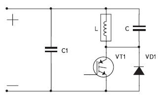 Схема одноключевого инвертора напряжения с параллельной компенсацией реактивности индуктора
