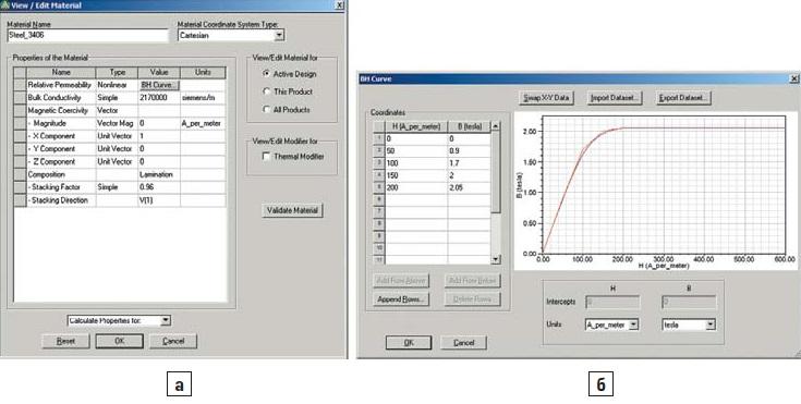 Задание параметров материала элементам геометрии модуля