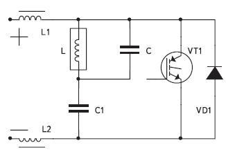 Схема одноключевого инвертора напряжения без постоянной составляющей тока и с параллельной компенсацией реактивности индуктора