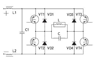 Мостовая схема инвертора напряжения с параллельной компенсацией реактивности индуктора