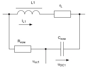 Эквивалентная схема дросселя первой фазы с подключенной измерительной RC-цепью