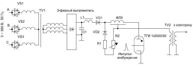Схема высоковольтного модулятора второго рода на основе тиратронаТГИ1-5000/50