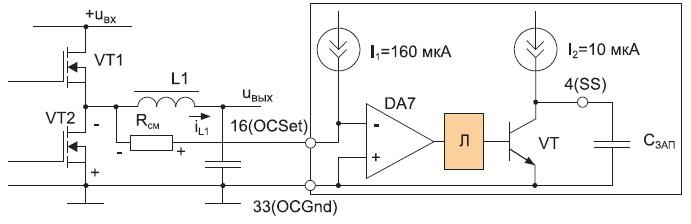 Схема контроля перегрузки по току (Л— логические схемы)