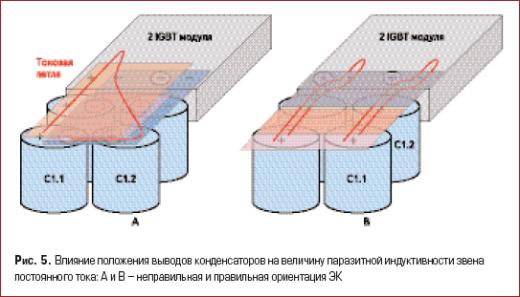 Влияние положения выводов конденсаторов на величину паразитной индуктивности звена постоянного тока