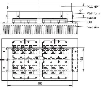 Установка конденсатора PCC-HP с длиной платформы L = 497 мм с помощью фиксирующих скоб по сторонам его корпуса на радиатор