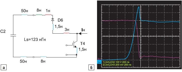 Для «короткого» контура модуля распределенная паразитная индуктивность; б) переходный процесс коммутации