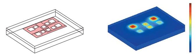 Температурное поле в конструкции силового модуля