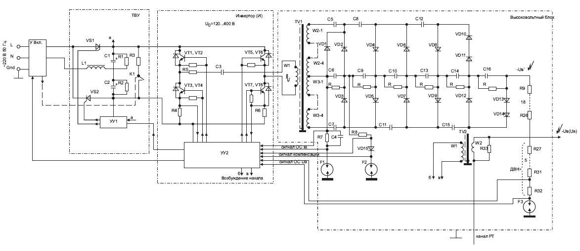 Схема преобразовательного ВВИП мощностью 3,5 кВт