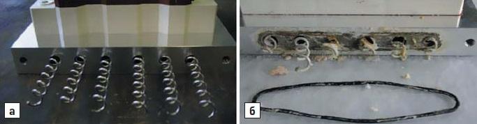 Внешний вид каналов охлаждения и спиральных турбулизаторов