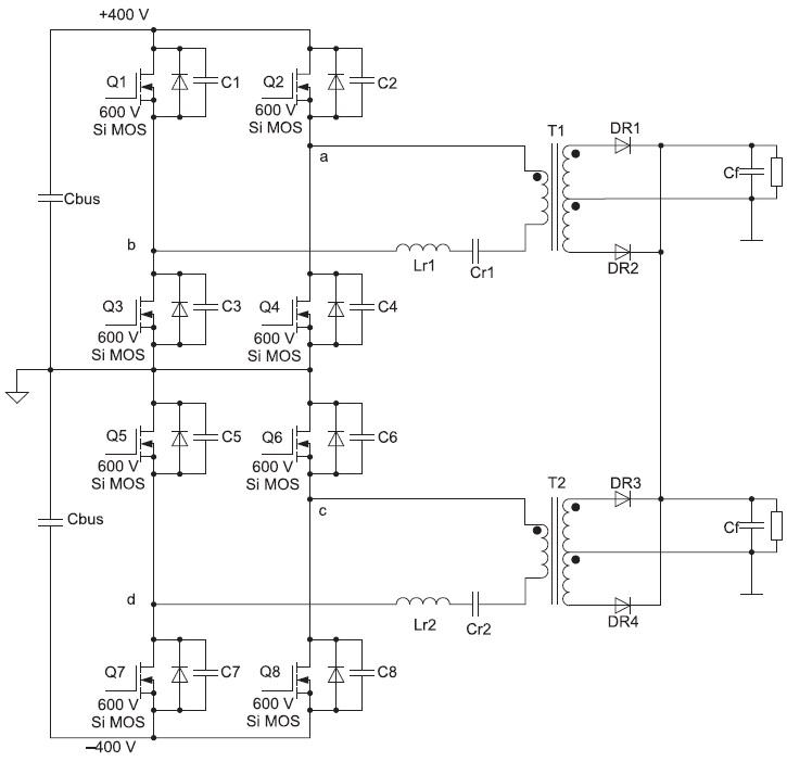 Двухуровневый мостовой DC/DC-конвертер с интерливингом набазе 600-В Si MOSFET