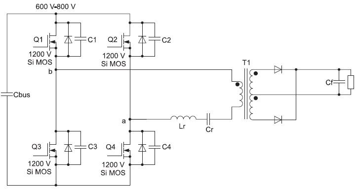 Предлагаемая схема двухуровневого мостового LLC ZVS DC/DC-конвертера набазе 1200В SiCMOSFET