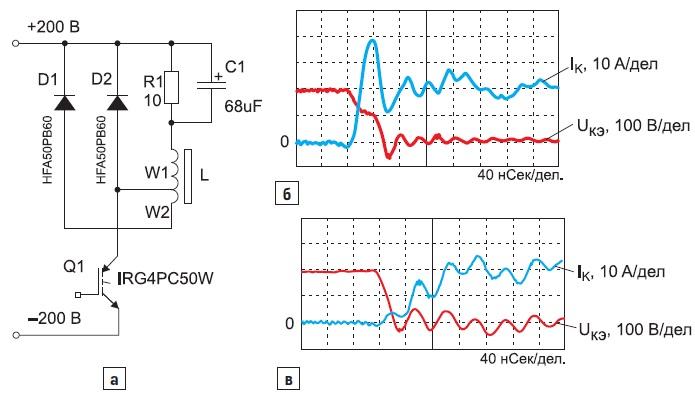 а) Реализованная схема понижающего DC/DC-конвертера; осциллограммы напряжения и тока