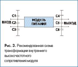 Рекомендованная схема трансформации внутреннего высокочастотного сопротивления модуля