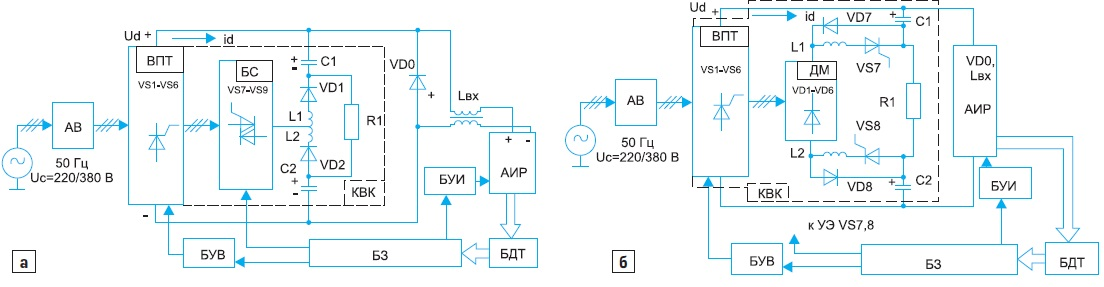 Обобщенная функциональная схема бесконтактной СЗ СЭУ: а) с БС; б) с коммутирующими тиристорами